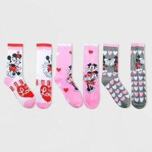 Disney Women's Mickey and Minnie 3pk Crew Socks